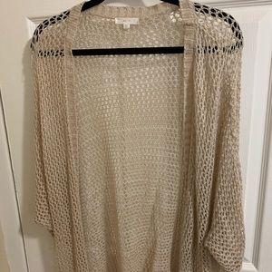 Open Knit Mine Cream Kimono, Size: M/L